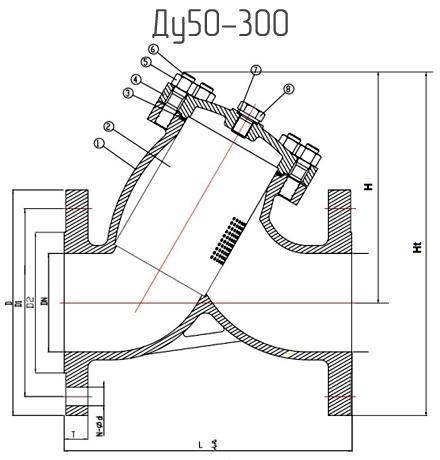 Чертеж габаритный фильтров сетчатых фланцевых из нержавеющей стали ABRA-YF-3000-SS316 Ду50-300