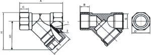 Фильтр сетчатый латунный муфтовый (резьбовой) чертеж общего вида