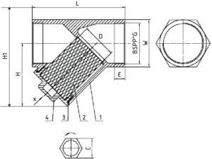 Чертеж габаритный фильтра сетчатого муфтового (резьбового) из нержавеющей стали