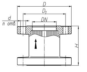 Чертеж общего вида огнепреградителя ОП-150