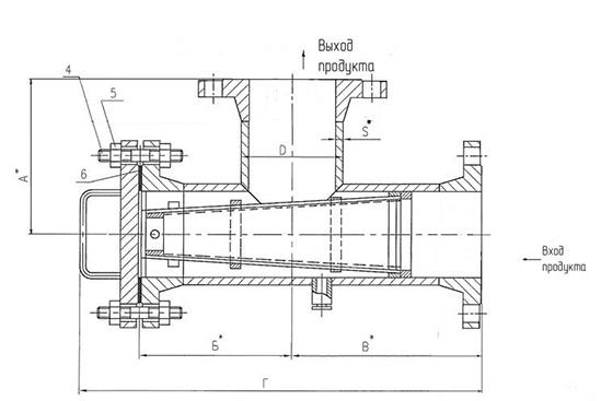 Чертеж общего вида фильтра сетчатого ФС типа II фланцевого