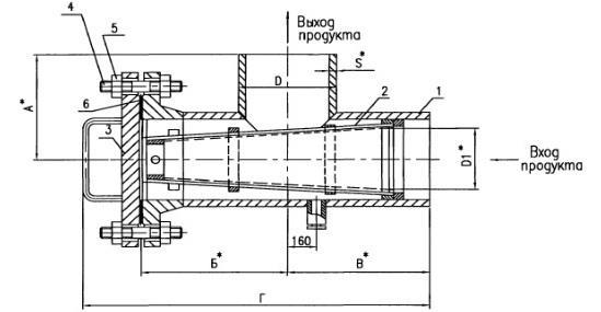 Чертеж общего вида фильтра сетчатого ФС типа II под приварку
