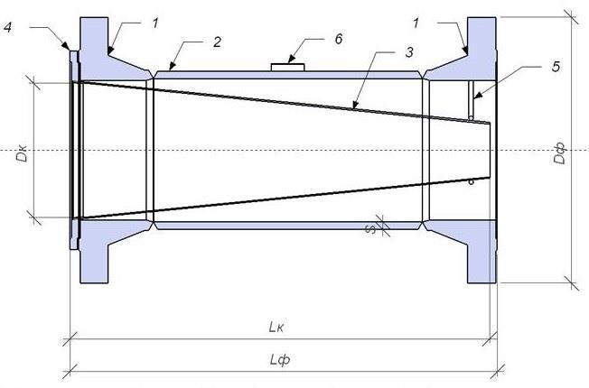 Чертеж общего вида фильтра сетчатого конусного ФС-К