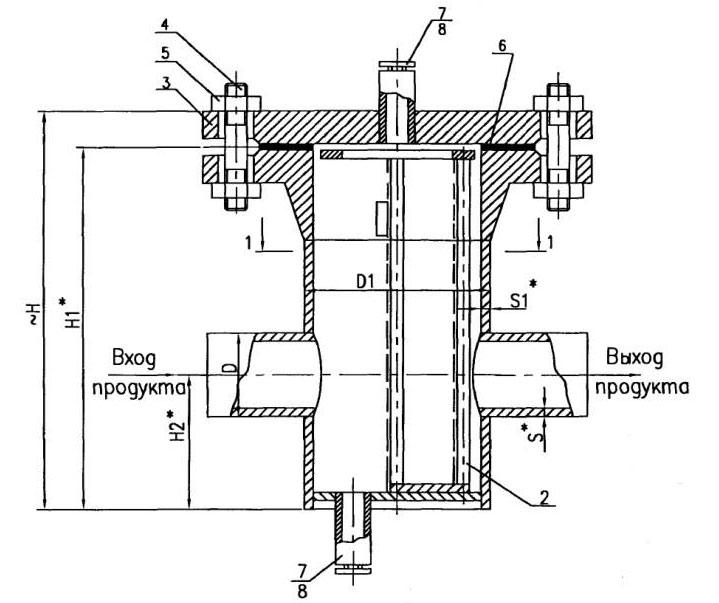 Чертеж общего вида фильтра сетчатогоФС типа III под приварку