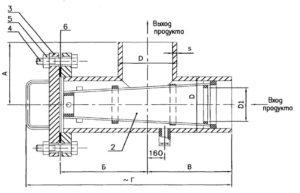 Чертеж общего вида фильтра сетчатого ФС типа V под приварку