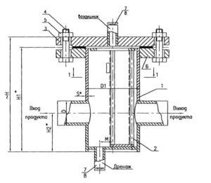 Чертеж общего вида фильтра сетчатого ФС типа VI под приварку