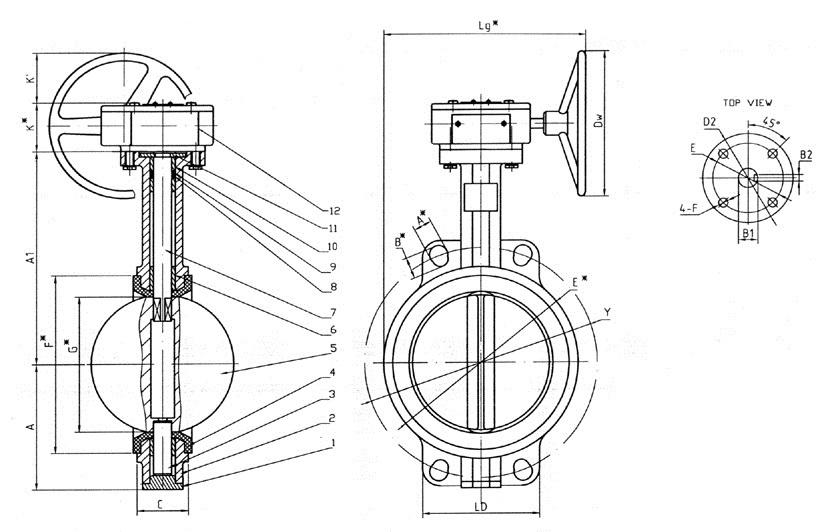 Чертеж габаритный затвора дискового поворотного межфланцевого чугунного с редуктором Ду 32-300