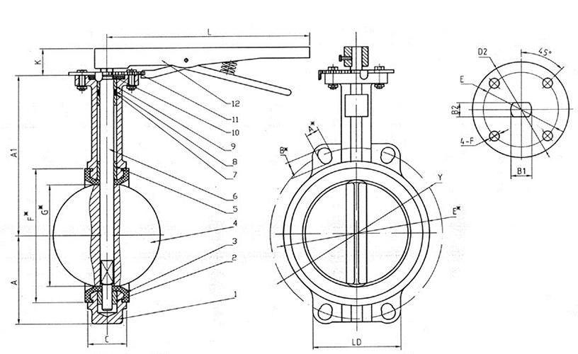 Чертеж габаритный затвора дискового поворотного межфланцевого чугунного с рукояткой Ду 32-300
