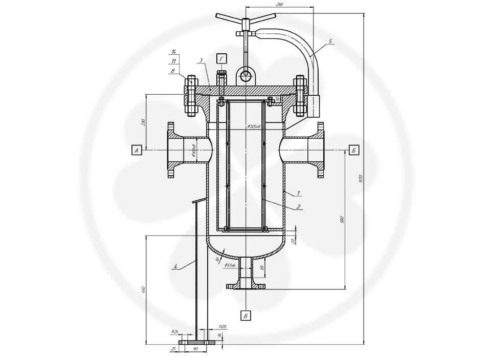 Фильтр сетчатый жидкостный ФСЖ-100-40-Сталь 20 без КОФ