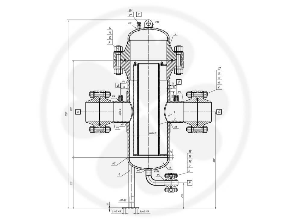 Фильтр сетчатый жидкостный ФСЖ-200-10,0-Д1-4,0