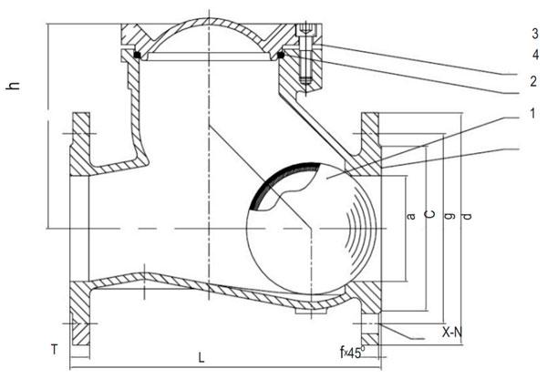 Обратные клапаны шаровые фланцевые для канализации ABRA: чертеж габаритный