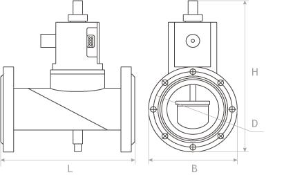 Клапан запорный газовый с электромагнитным приводом КЗГЭМ фланцевый габаритные размеры