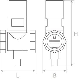 Клапан запорный газовый с электромагнитным приводом КЗГЭМ муфтовый габаритные размеры